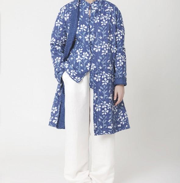 Basic jacket quilted long kantha milk block print