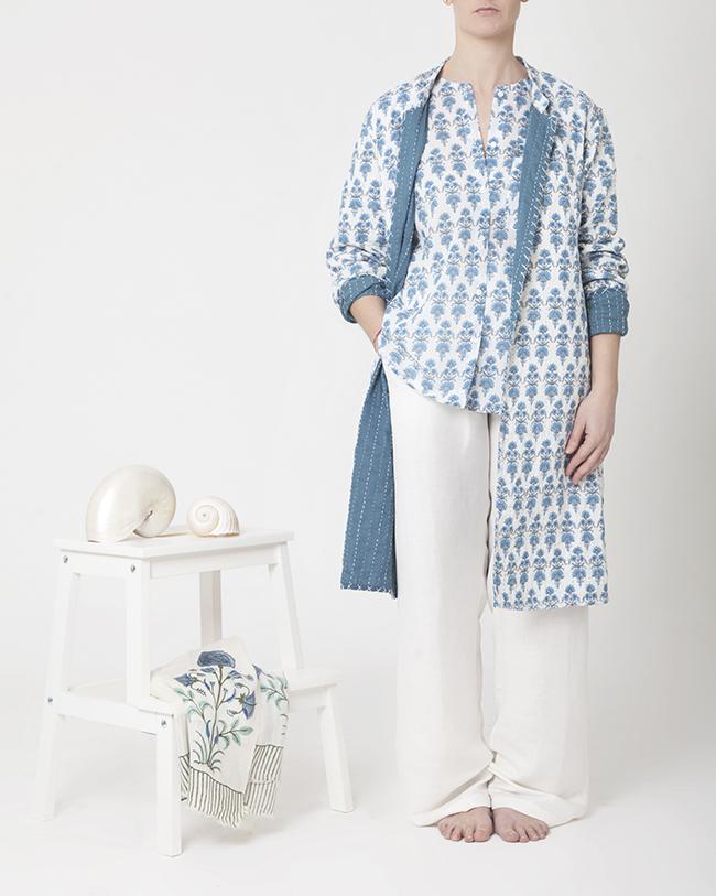 Candy shirt long jacket kantha milk block print